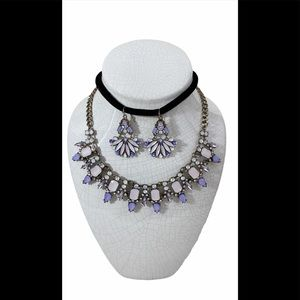 Pink and Lavender Color Necklace & Earrings Set